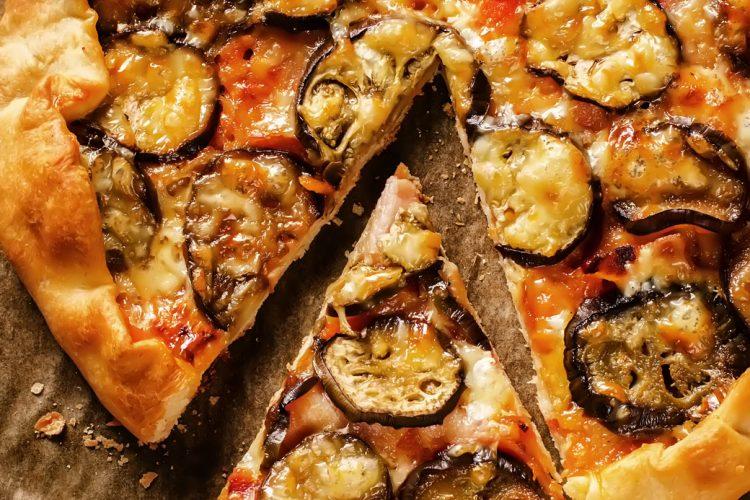 Aubergine and Caramelised Onion Cracker Pizza