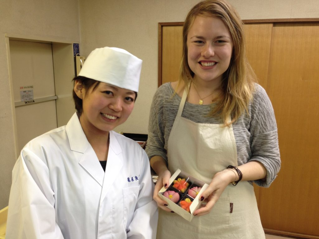 Hadley learning about wagashi in Japan, 2013