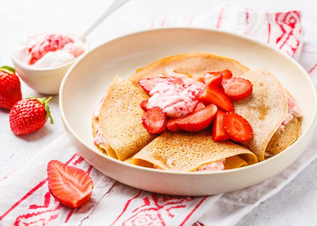 Strawberry Crepes Flambé