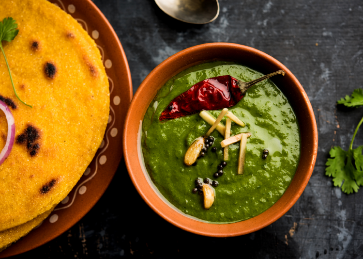Makke Di Roti and Sarson Ka Saag are the finest examples of carbs with Indian curries.